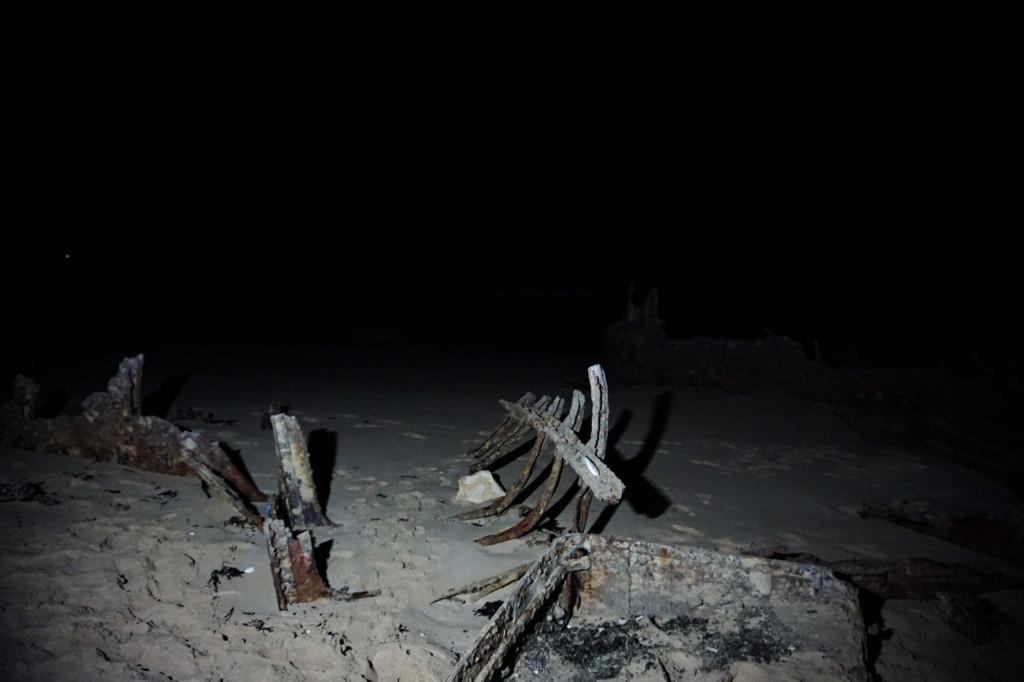 Shipwreck at nighttime.