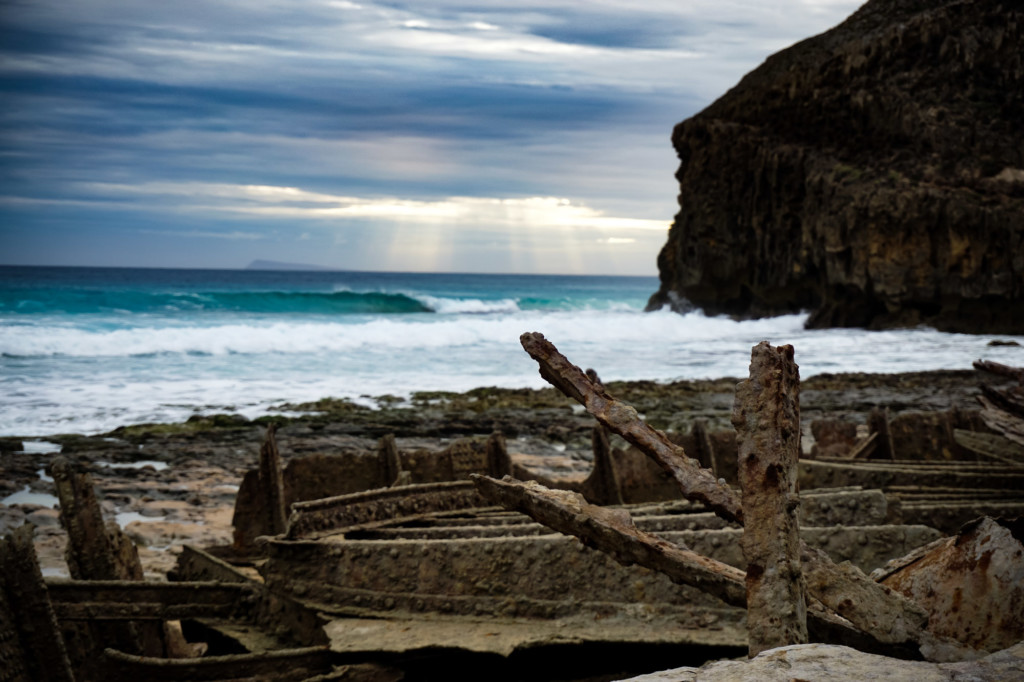 Shipwreck near the ocean.