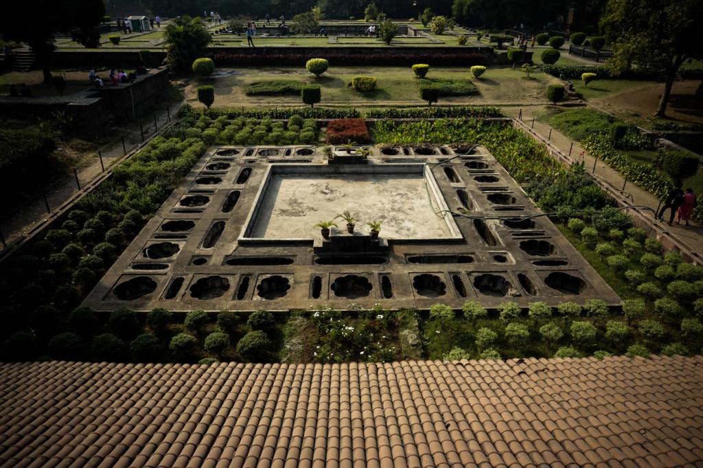 Garden inside of Shaniwar Wada Fort, India.