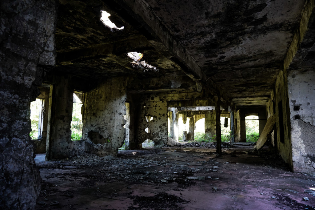 Hospital on Corregidor Island is very ruined.