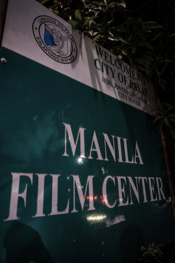 Sign for the haunted Manila Film Center.