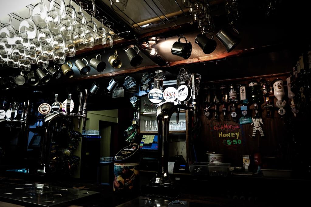 Bar at haunted Prince of Wales Pub.