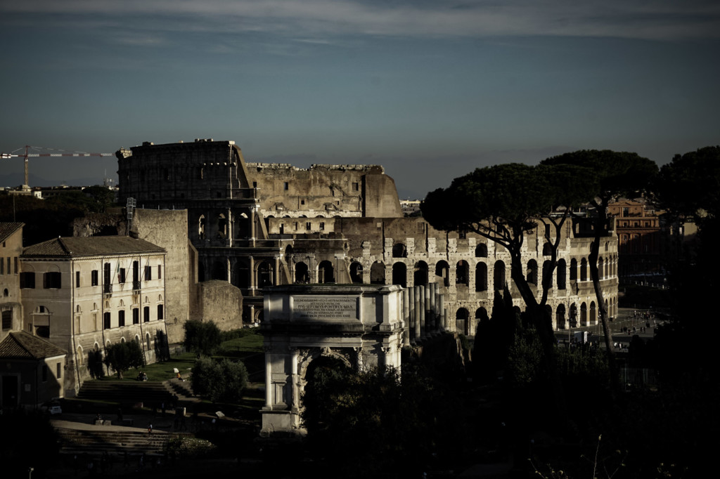 Roman Colosseum and the Forum.