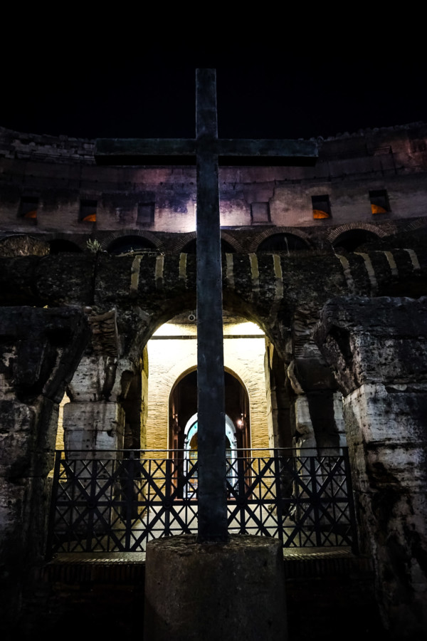 Cross inside of the Colosseum.