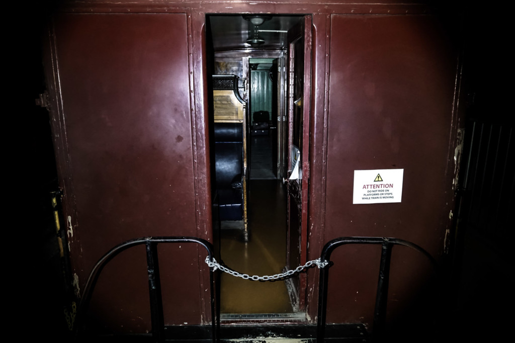 Haunted train carriage inside Port Adelaide museum.