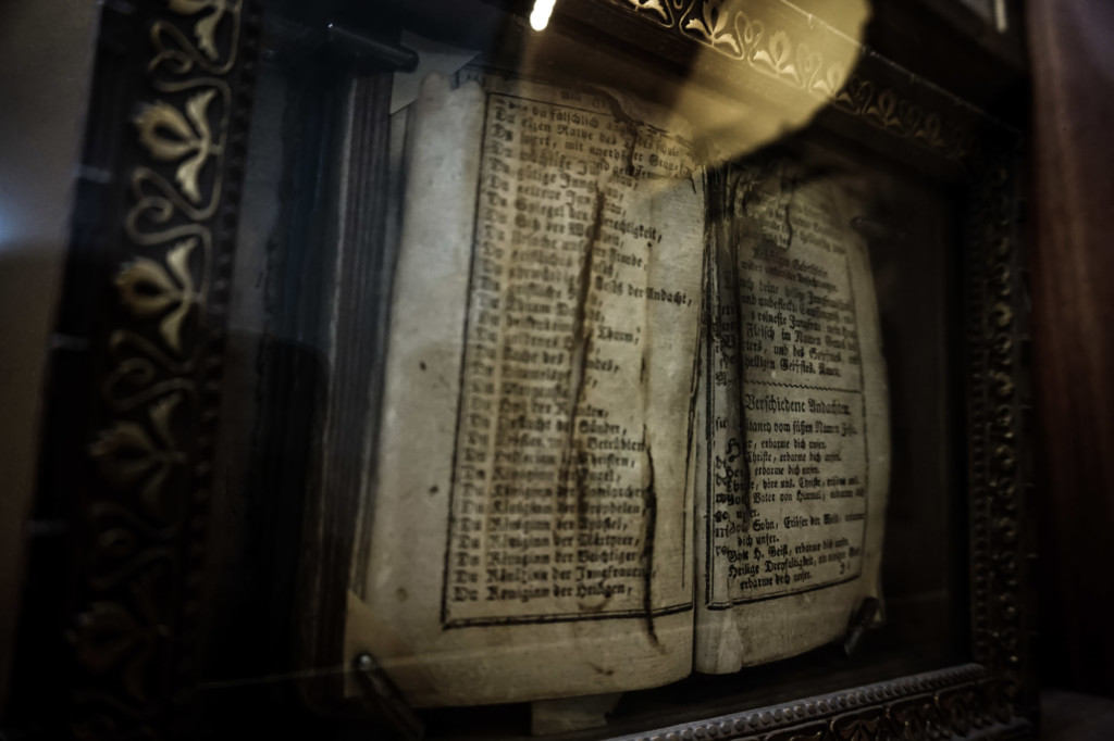 A book on display in the Museum of Purgatory in Rome.