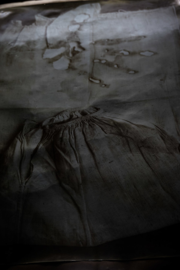 A handprint burnt onto clothing on display inside Rome's Museum of the Holy Souls in Purgatory.