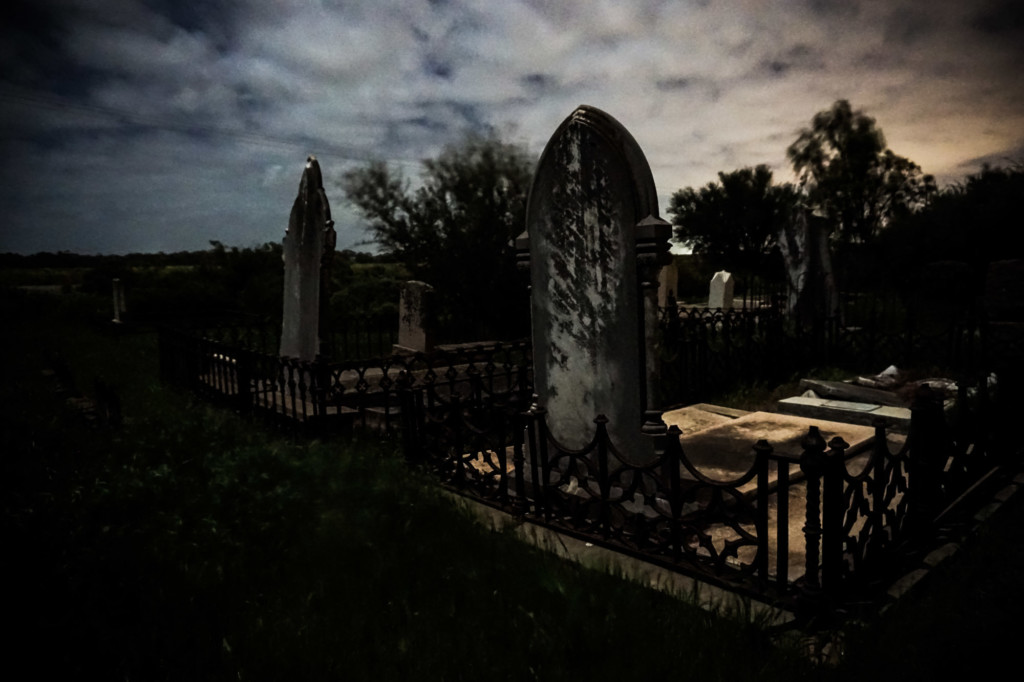 Carclew Cemetery at night.