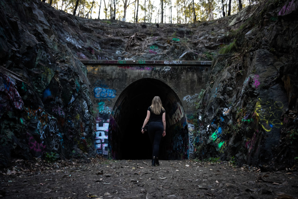 Walking into the haunted Ernest Junction Tunnel.