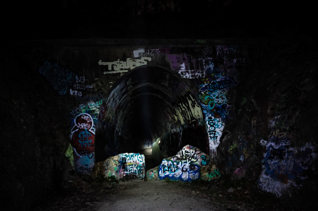 Haunted Tunnel at night in Australia.