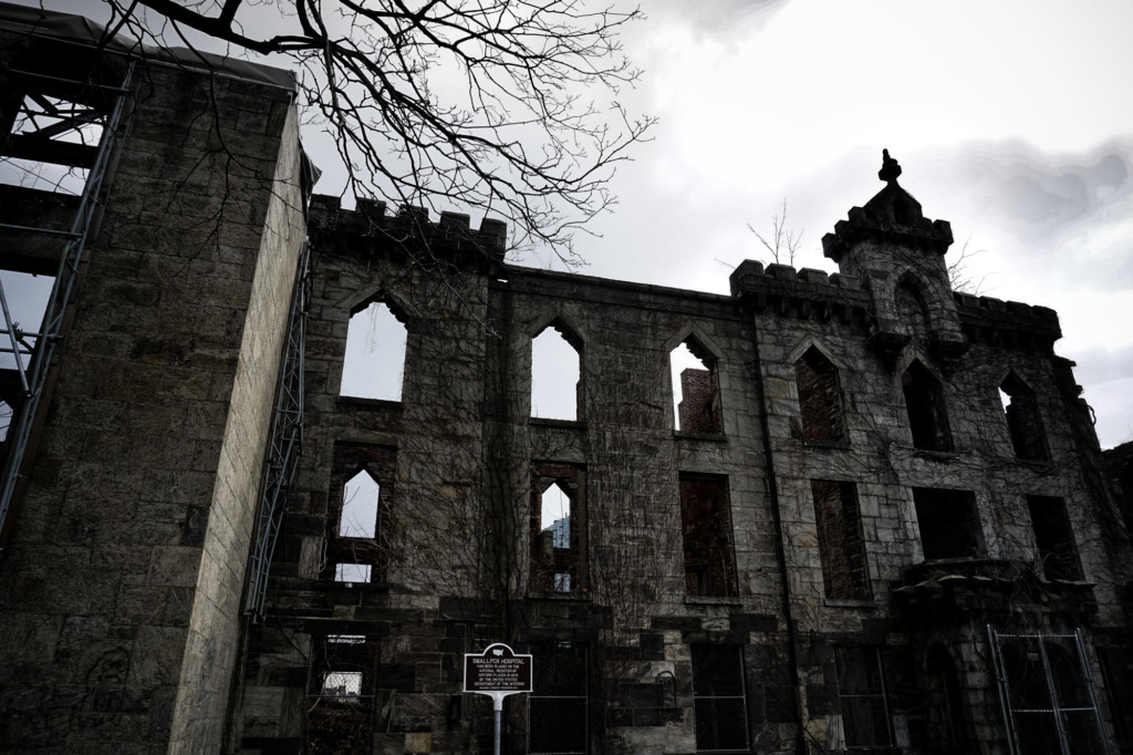Site ruin of the Renwick Smallpox Hospital New York.