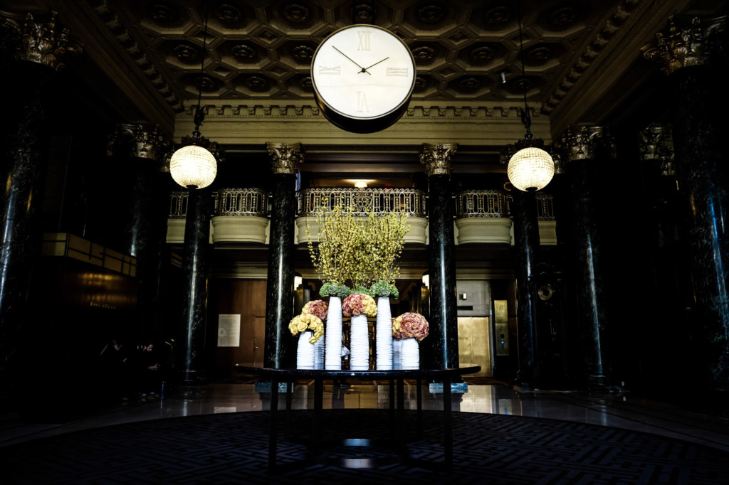 Clock in the lobby of the St. Francis Hotel of San Francisco.