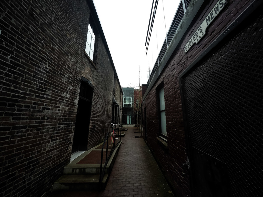 Haunted alley in Vancouver, Canada, the Gaolers Mews.