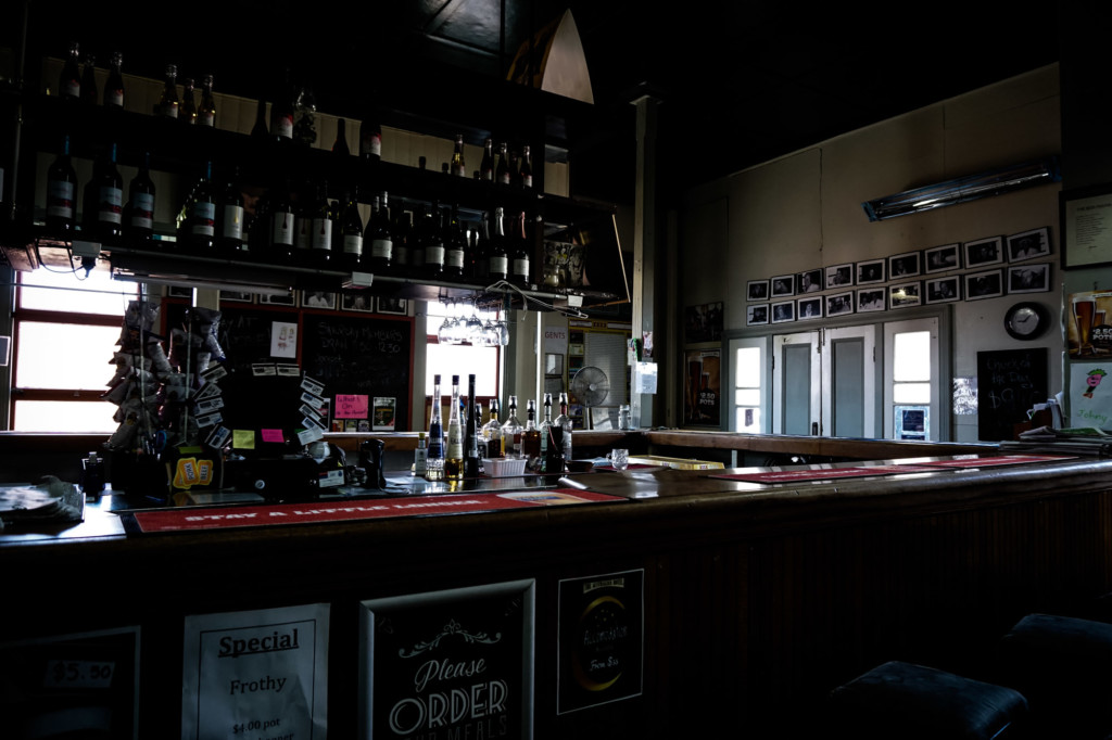 Front bar of haunted Australian pub.