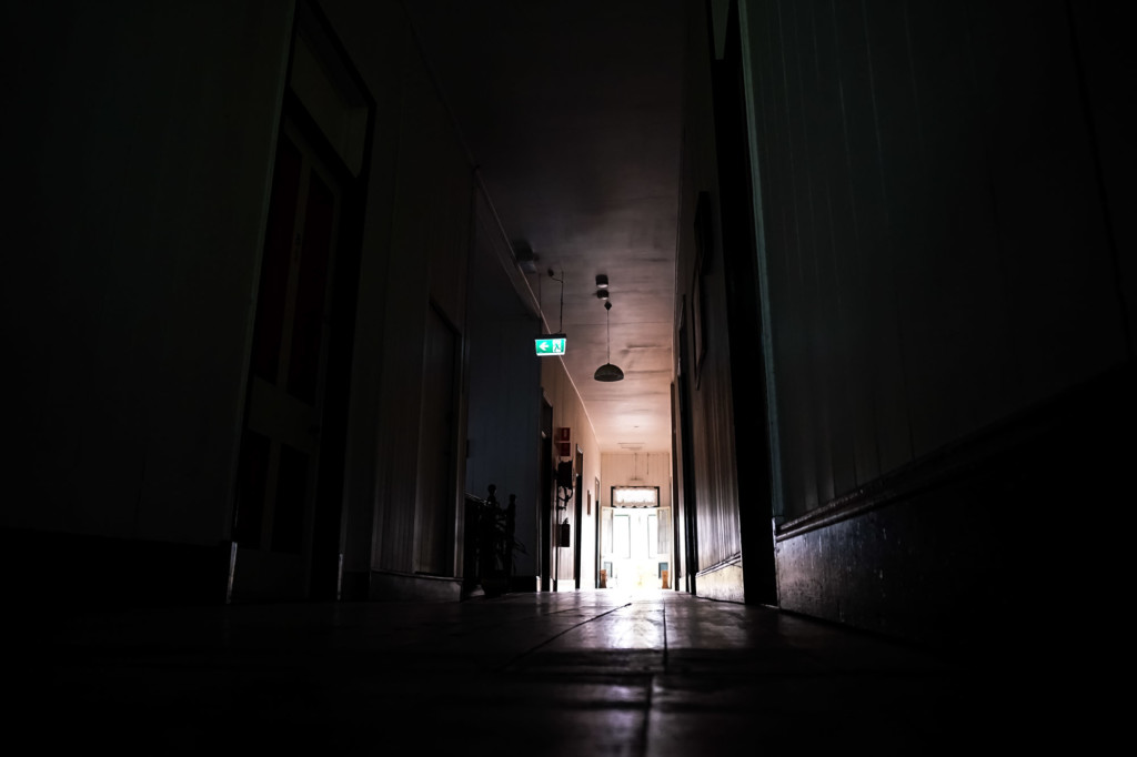 Hallway of the spooky Australian Hotel.
