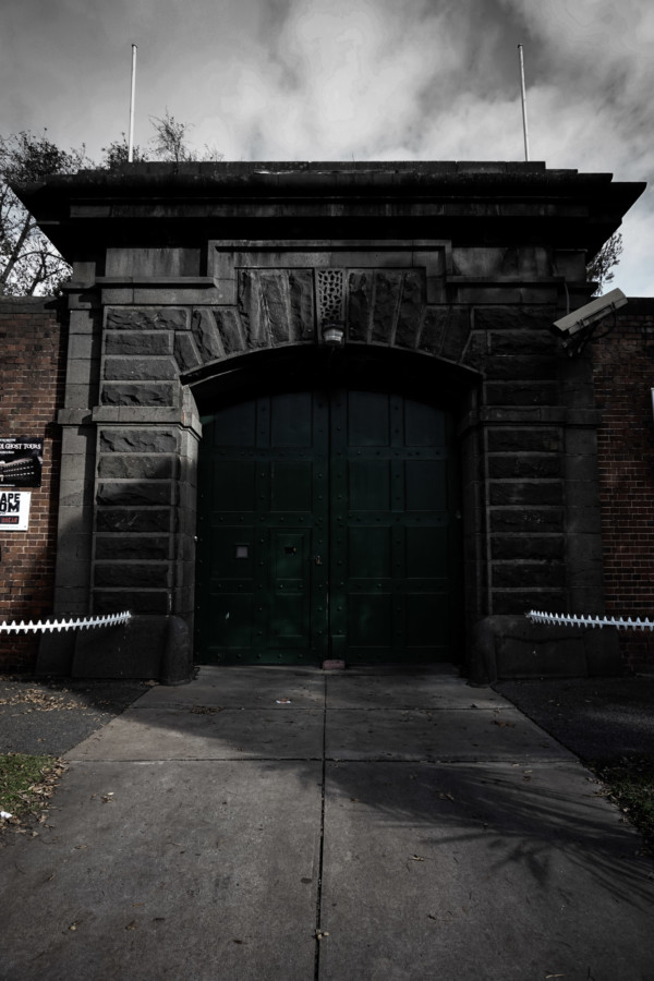 Front gates the haunted jail in Geelong.