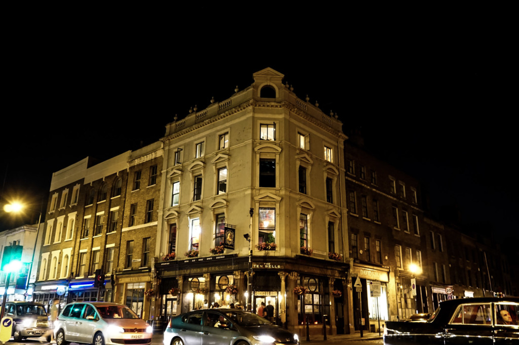 Ten Bells Pub by night.