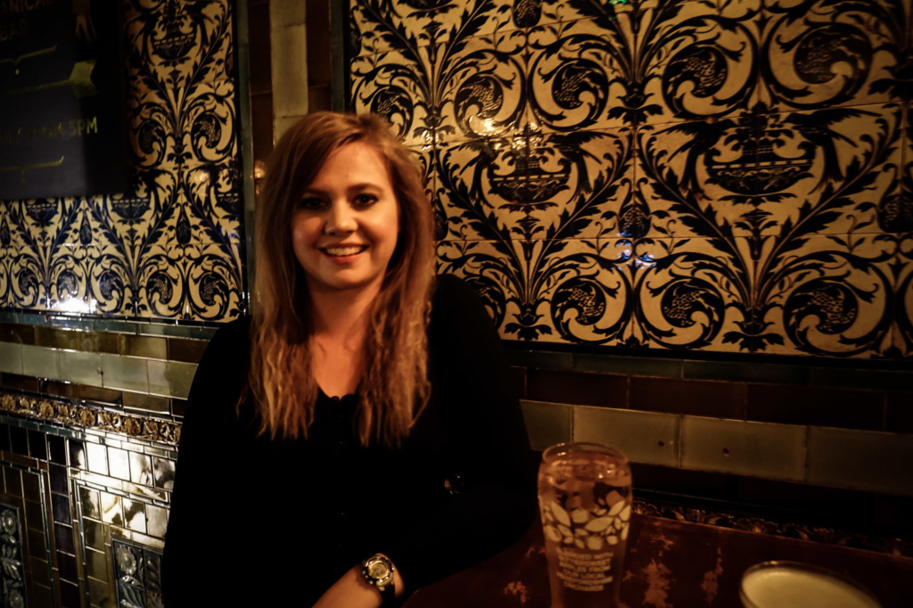 Drinking at a haunted pub in London.