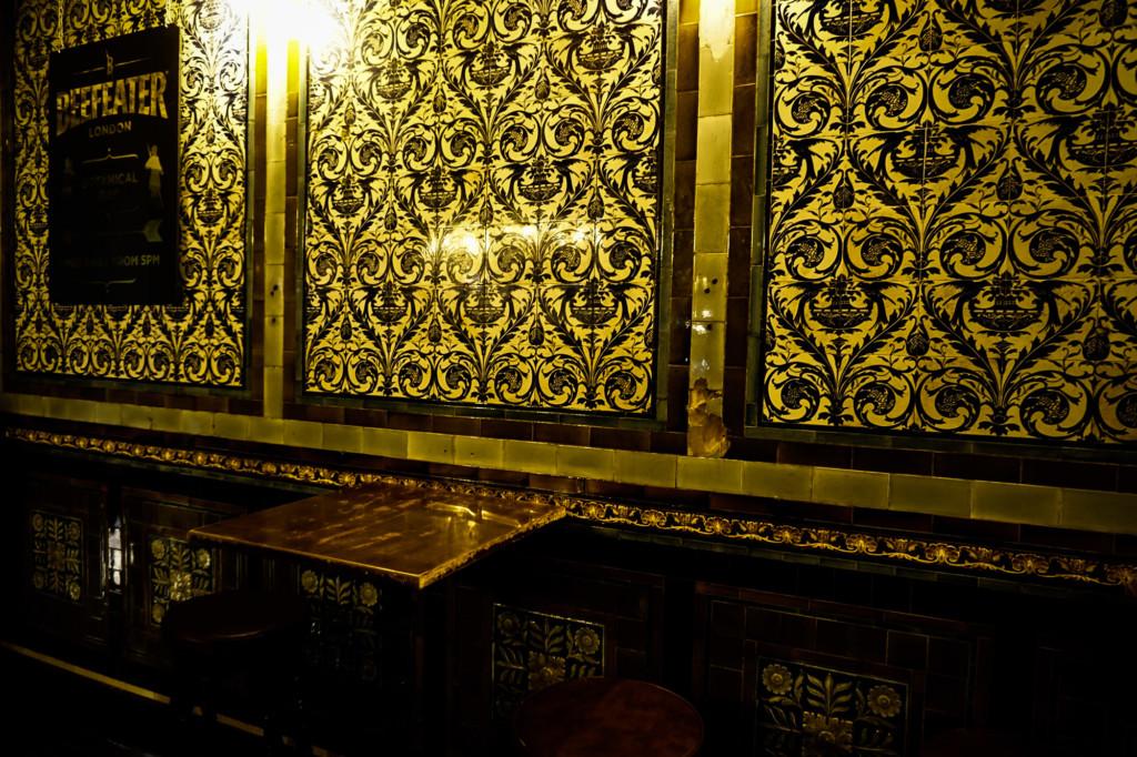 Victorian decor inside the haunted Ten Bells of London.