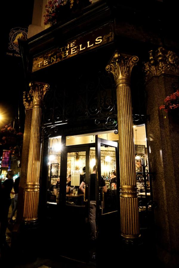 Doorway inside of the Ten Bells Pub in London.
