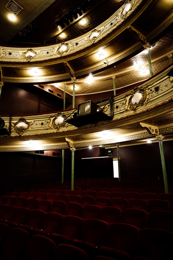 Ornate interior of the haunted Royal Theater, Tasmania.
