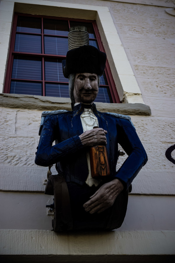 Figurehead displayed on the Drunken Admiral, Hobart.
