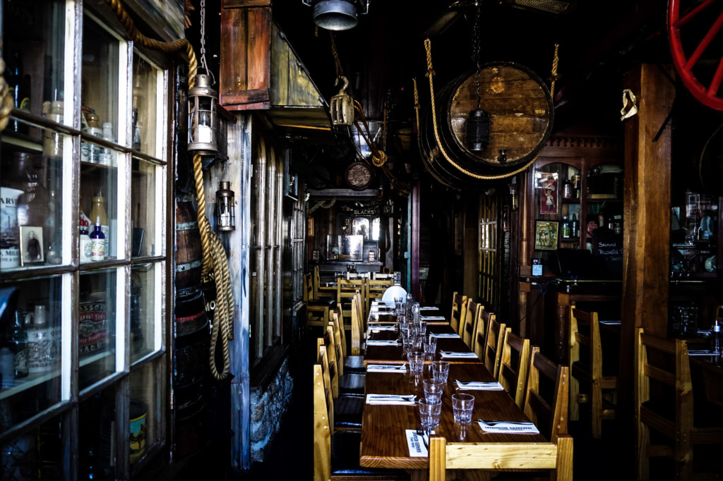 Inside the haunted Drunken Admiral restaurant in Hobart, Tasmania.