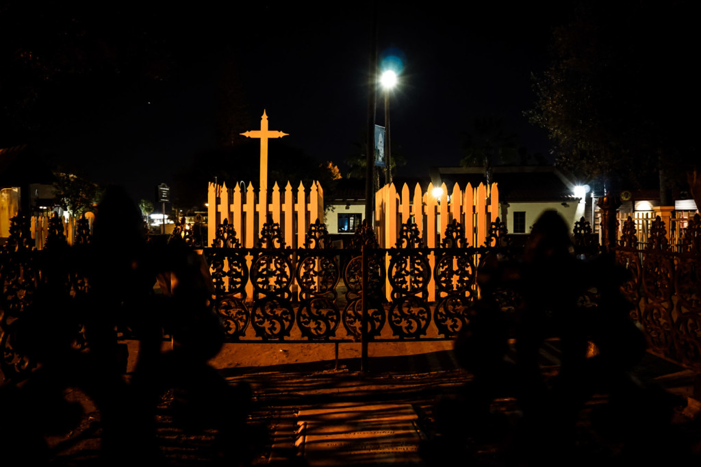 Fences inside haunted cemetery in California.