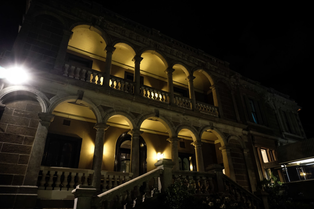 Night time at the haunted Lenna of Hobart.
