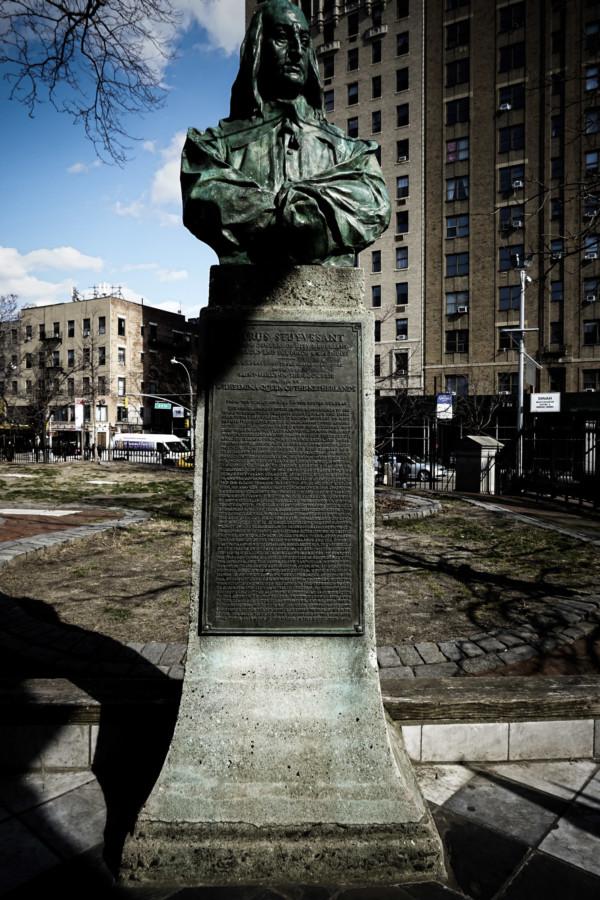 Petrus Stuyvesant statue at haunted church in New York City.