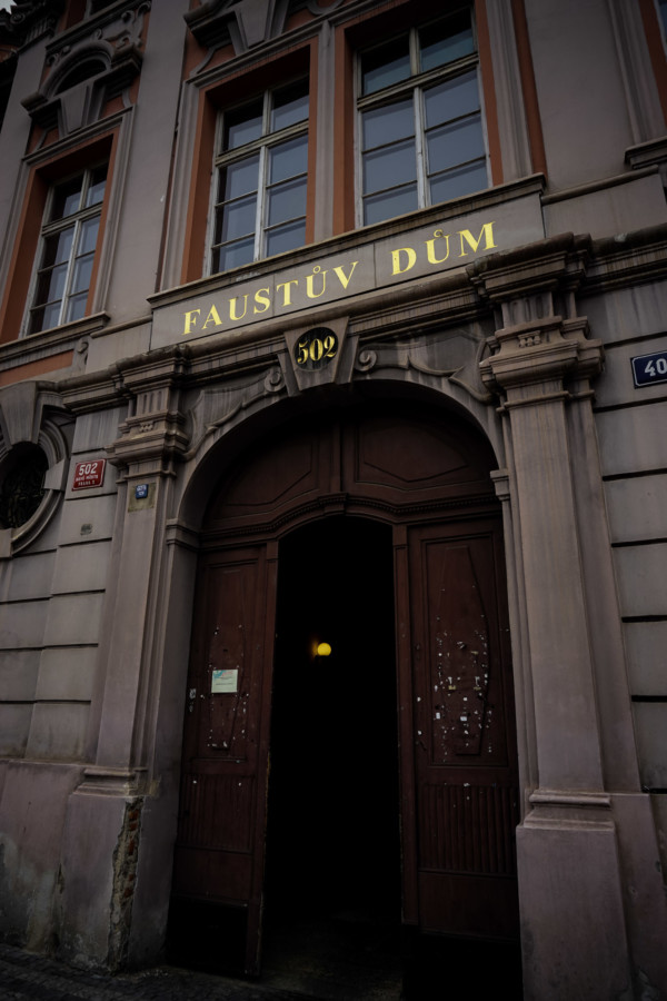 Entry to the most haunted house in Prague.