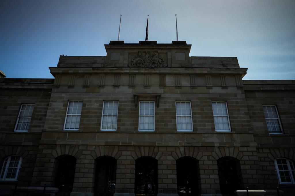 Scary looking parliament house in Hobart.