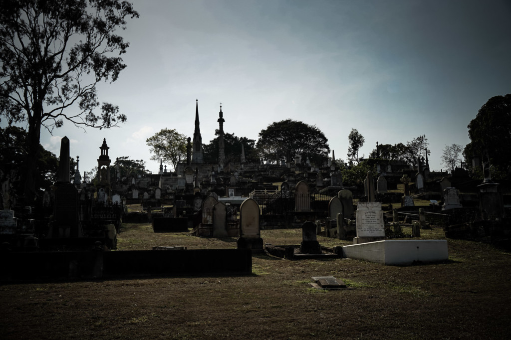 Thousands of graves scattered across Brisbane's haunted Toowong Cemetery.