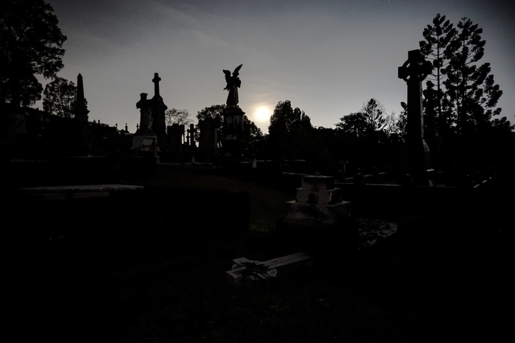 Full moon over Toowong Cemetery, most haunted cemetery in Brisbane.