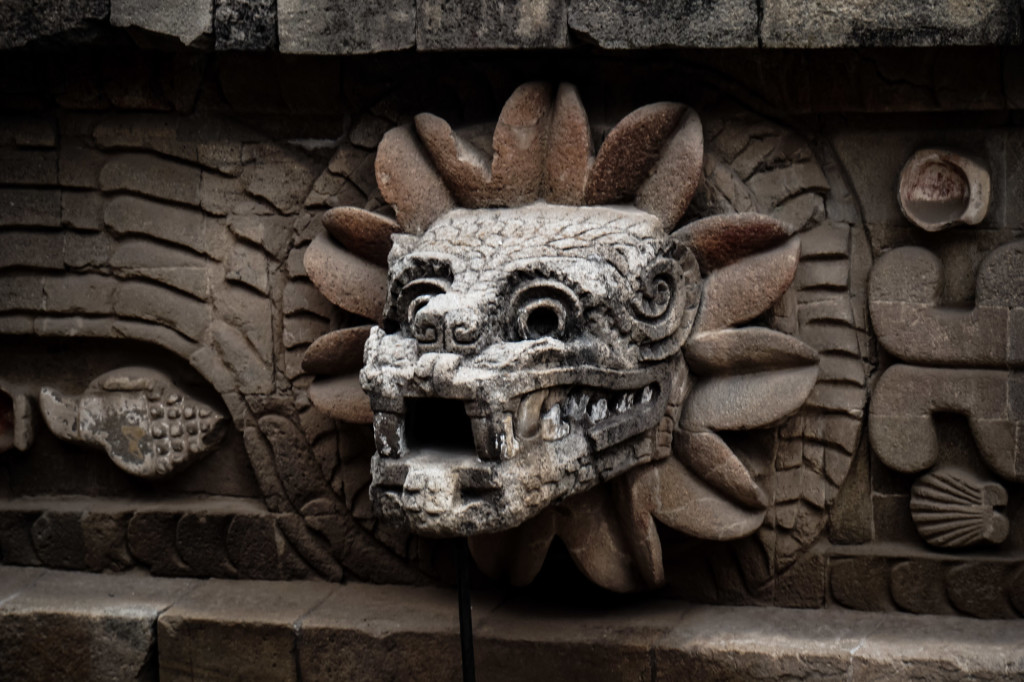 Temple of the Feathered Serpent stone work at Teotihuacan.