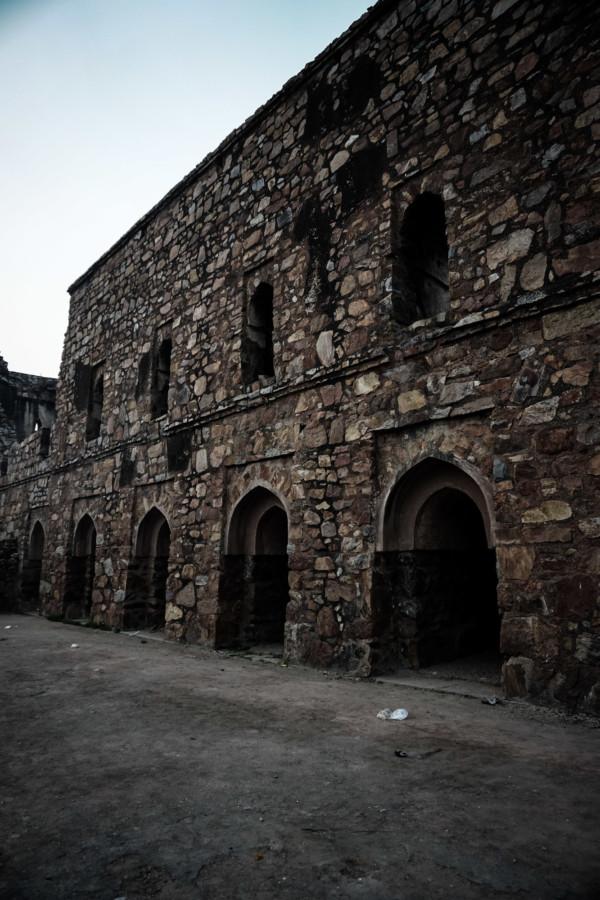Stone ruins at Feroz Shah Kotla in Delhi, India.