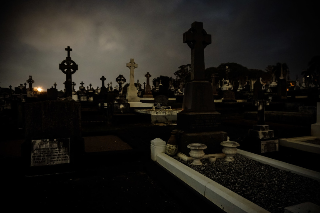 Night time at Nudgee Cemetery in Queensland, Australia.