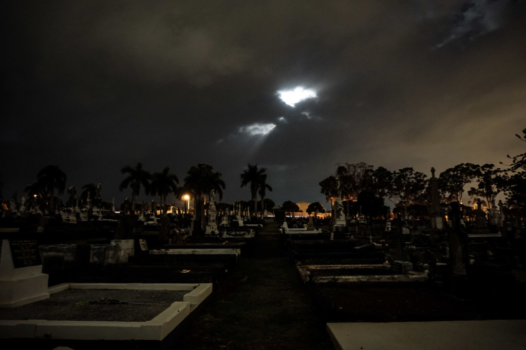 Moon over Nudgee Cemetery.