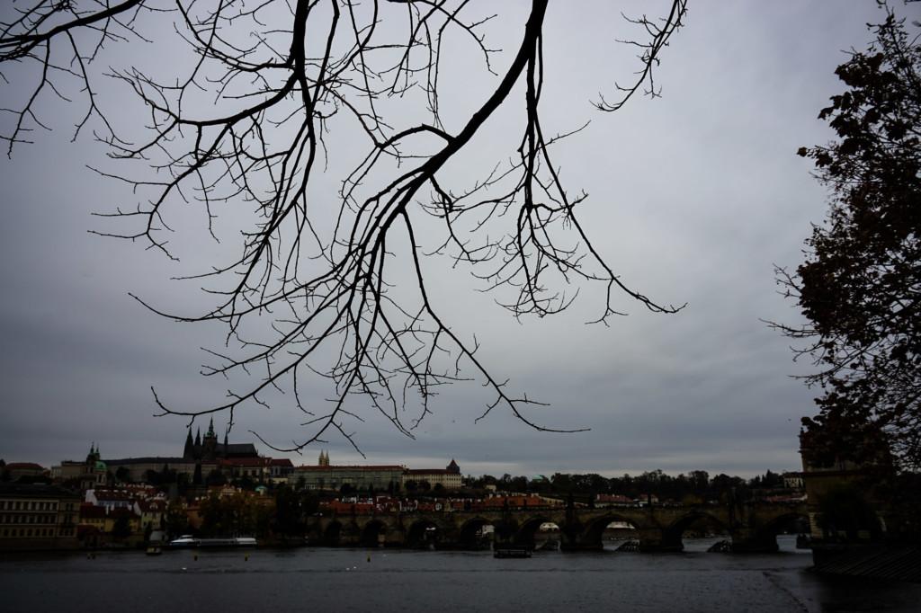 Gloomy day over Charles Bridge, Prague.
