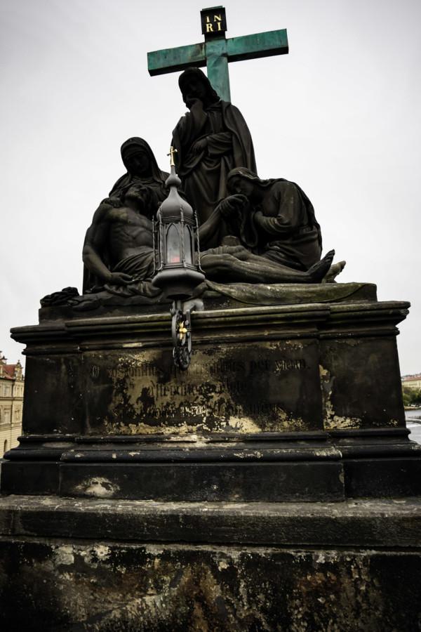 Historic Charles Bridge, Prague statue.