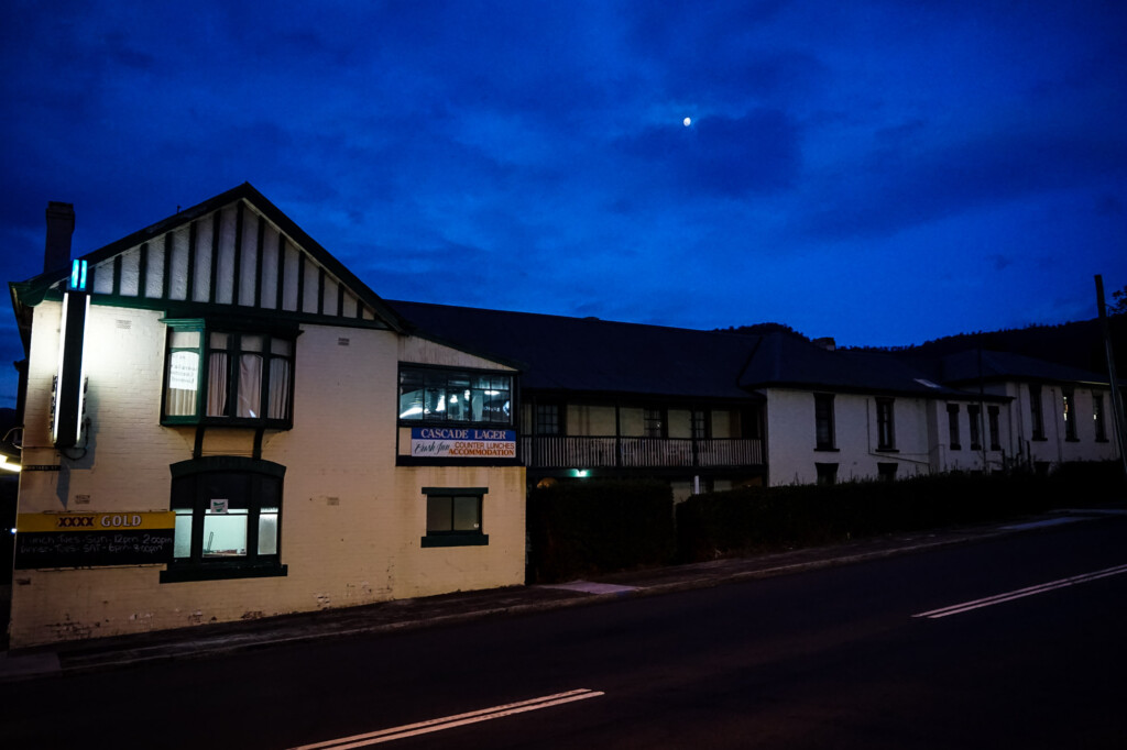 Night falling over the haunted Bush Inn, Tasmania.