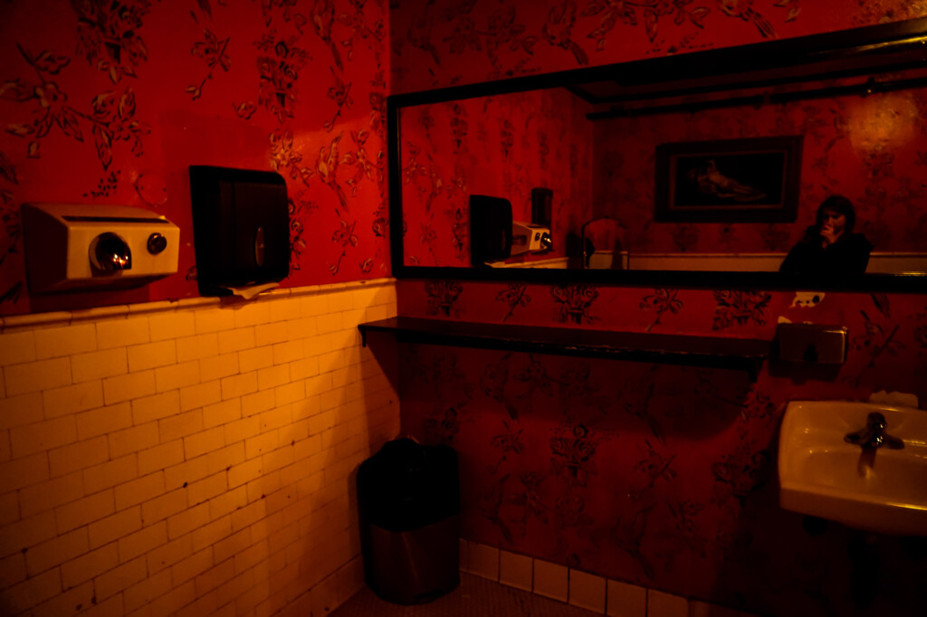 Haunted bathroom in Del Monte Speakeasy.