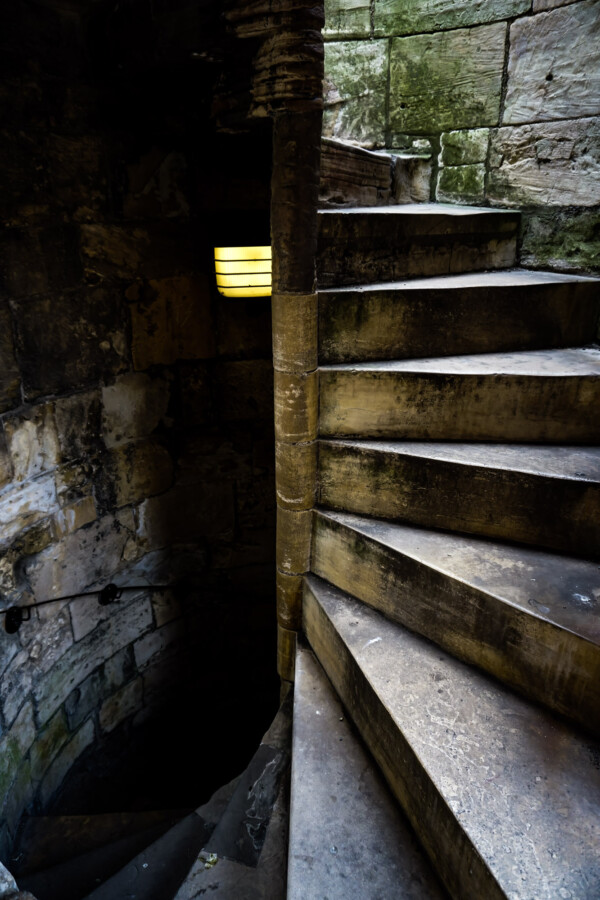 Stone tower stairs in York, England.