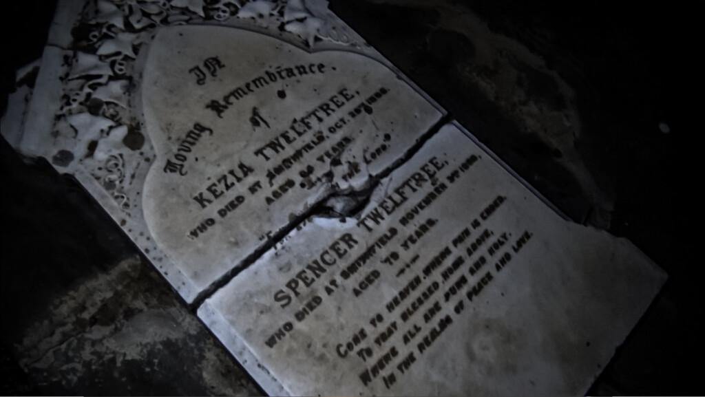 Graveyard at night.
