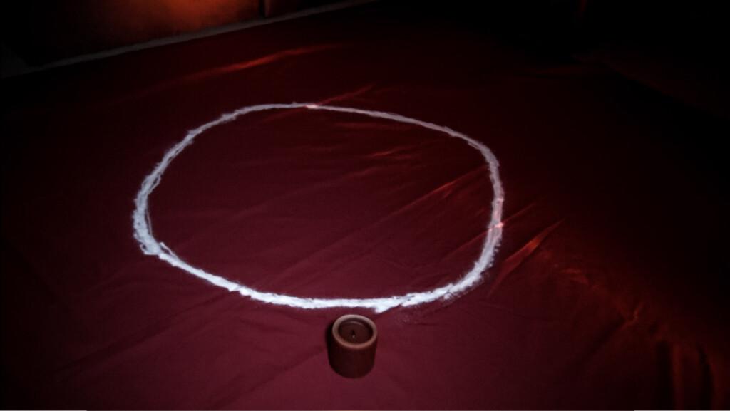 Salt circle for paranormal ritual.
