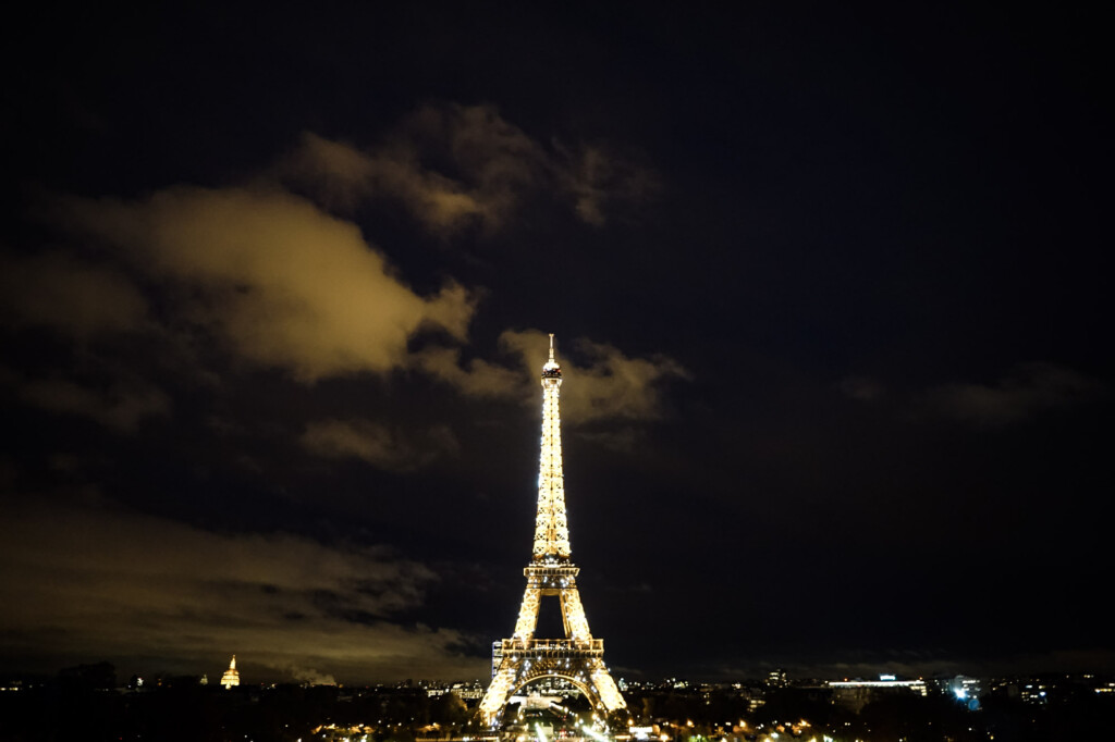 Haunted Eiffel Tower by night.