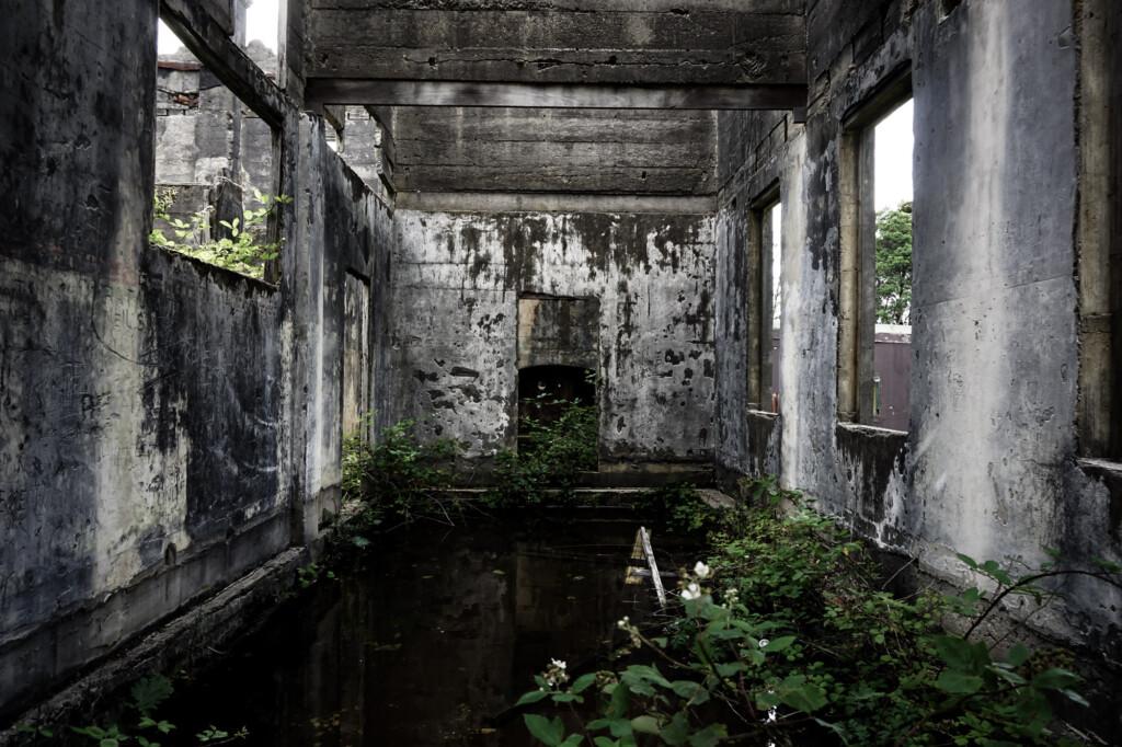 Abandoned building flooded.