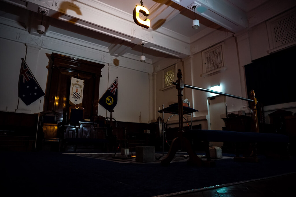 Ritual room of the Freemasons.