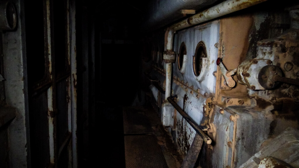 In an abandoned locomotive.