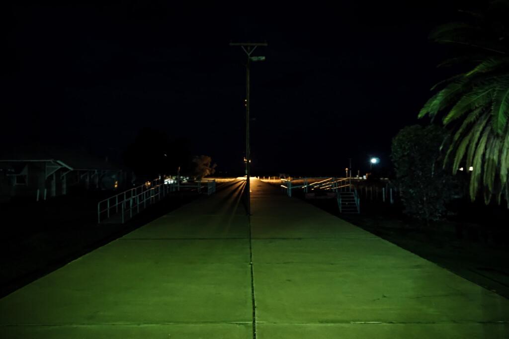 Haunted train platform in Marree.